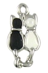 Wholesale Black Cat and White Cat Enameled Charms.