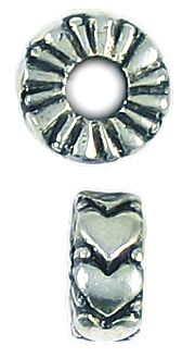 Heart Bead Big Hole (±5x12x12mm; -4.8mm-;3D)