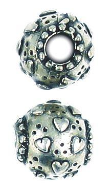 Heart Bead Big Hole (±12x13x13mm; -4.8mm-;3D)