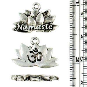 Wholesale Lotus Flower Charm with Namaste and Om Symbol