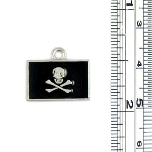 Skull and Crossbones Flag Charm With Black Epoxy