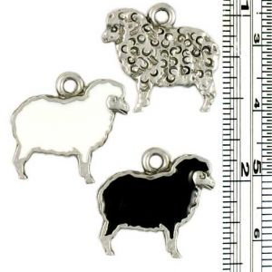 Wholesale White and Black sheep charms