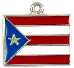 Puerto Rican Flag Charm (±2x19x20mm;  Hole -1.5mm-; 1D)