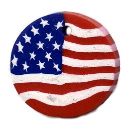 Wholesale 25mm Disc USA Flag Fimo Polymer Clay  Pendants